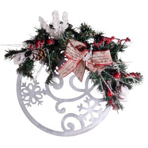 Στολισμένο Χριστουγεννιάτικο ξύλινο στεφάνι με παραστάσεις 28x40 εκ
