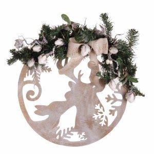 Ξύλινο στολισμένο Χριστουγεννιάτικο στεφάνι με παραστάσεις και led λαμπάκια 40x48 εκ
