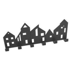 Κρεμάστρα μεταλλική διακοσμημένη με σπιτάκια 30x3x11 εκ
