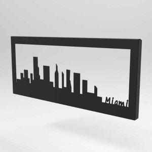 Skyline Miami κάδρο μεταλλικό σε τρία χρώματα 35x2x15 εκ