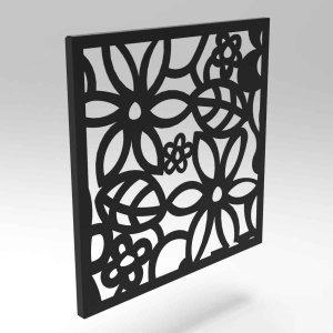 Κάδρο διακοσμητικό με λουλούδια από μέταλλο σε τρία χρώματα 35x2x35 εκ