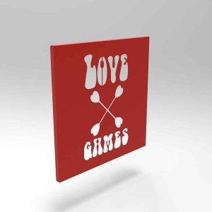 Διακοσμητικό κάδρο Τοίχου Love Games σε κόκκινο χρώμα 35x2x35 εκ