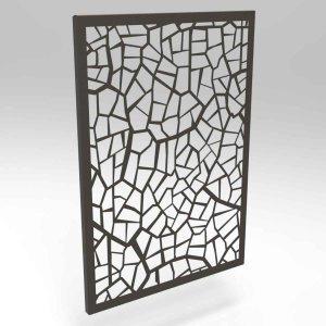 Μεταλλικό διακοσμητικό κάδρο τοίχου με πολύγωνα σε δύο χρώματα 35x2x50 εκ