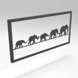 Κάδρο διακοσμητικό από μέταλλο με ελέφαντες 50x2x25 εκ