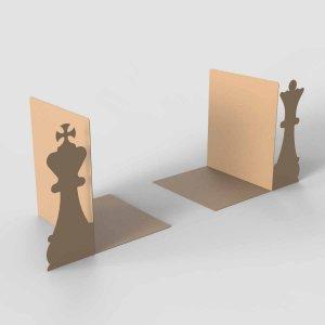 Διακοσμητικός μεταλλικός βιβλιοστάτης σκάκι σετ βασιλιάς βασίλισσα 15x18x21 εκ