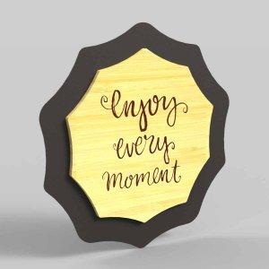 Enjoy every moment κάδρο διακοσμητικό από μέταλλο και ξύλο 18x5x19 εκ