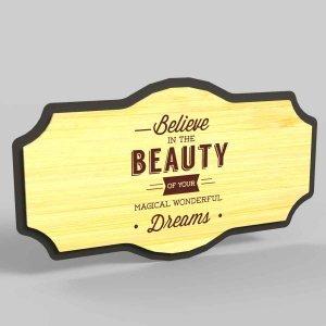 Διακοσμητικό κάδρο Beauty από μέταλλο και ξύλο 35x5x20 εκ