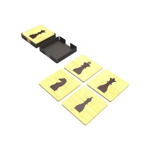 Ξύλινα σουβέρ Σκάκι σετ των τεσσάρων τεμαχίων σε μεταλλική θήκη 10x10x2 εκ