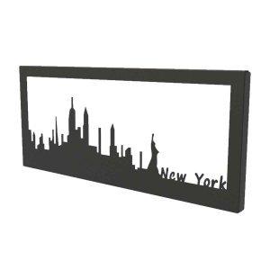 Διακοσμητικό κάδρο τοίχου από μέταλλο Skyline New York σε τρία χρώματα 35x2x15 εκ