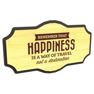 Κάδρο Happiness από μέταλλο και ξύλο  35x5x20 εκ