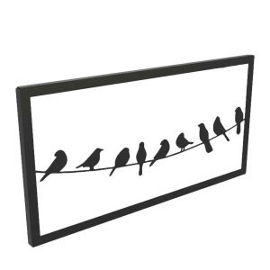 Minimal μεταλλικό διακοσμητικό τοίχου με πουλιά σε σύρμα σε δύο χρώματα 50x2x25 εκ