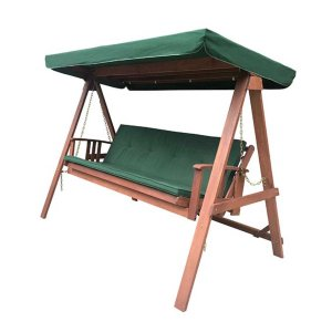 Κούνια τριθέσια ξύλινη με κρεβάτι 236x130x180 εκ