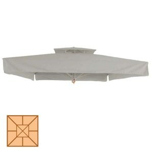 Αδιάβροχο τετράγωνο ανταλλακτικό πανί ομπρέλας εκρού 400x400 εκ