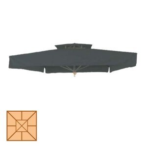 Αδιάβροχο ανταλλακτικό πανί ομπρέλας κήπου σε γκρι χρώμα 300x300 εκ
