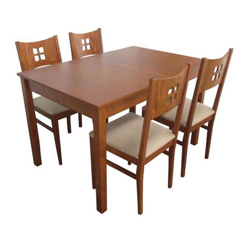 Σετ τραπεζαρίας classic  ξύλινη με τέσσερις καρέκλες και ένα ανοιγόμενο τραπέζι