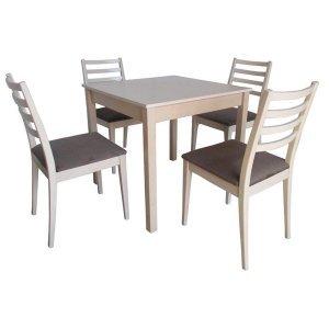 Σετ τραπεζαρίας με τέσσερις καρέκλες και ένα τετράγωνο τραπέζι 80x80 εκ
