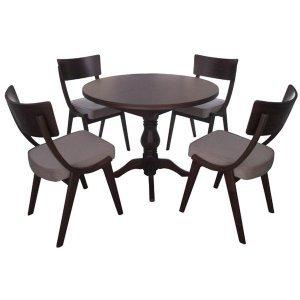Vintage καρυδί τραπεζαρία με τέσσερις καρέκλες και ανοιγόμενο τραπέζι