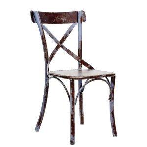 Agata rustik μεταλλική καρέκλα καφέ με γκρι