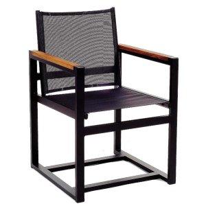 Πολυθρόνα αλουμινίου με textilene και ξύλινα μπράτσα
