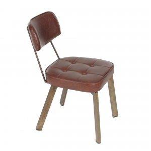 Corner Μεταλλική καρέκλα με καπιτονέ μαξιλάρι έδρας