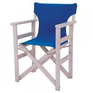Πολυθρόνα σκηνοθέτη από ξύλο οξυάς λευκή περαστή