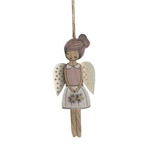 Ξύλινος άγγελος χριστουγεννιάτικο στολίδι 9x5x21 εκ