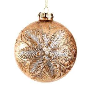 Χριστουγεννιάτικη μπρονζέ ανάγλυφη μπάλα με φύλλα και πούλιες 10 εκ