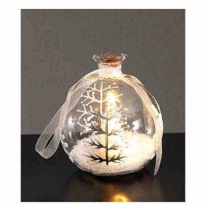 Επιτραπέζιο διακοσμητικό φωτιζόμενο γυάλινο μπουκαλάκι με χιονισμένο τοπίο 10 εκ