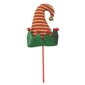 Χριστουγεννιάτικο στολίδι καπέλο ξωτικού με πράσινο γείσο και κόκκινα πομπομ 53 εκ