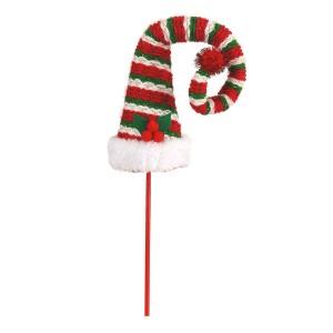 Καπέλο ξωτικού διακοσμημένο με χριστουγεννιάτικο γκι και ρίγες 9x9x48 εκ