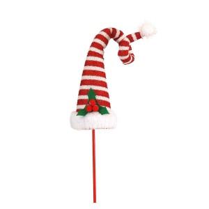 Χριστουγεννιάτικο καπέλο ξωτικού με λευκές και κόκκινες ρίγες 9x9x48 εκ