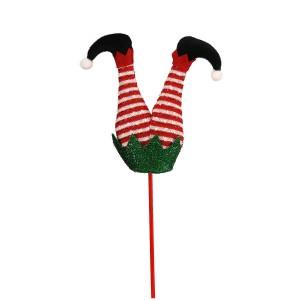 Χριστουγεννιάτικο στολίδι πόδια ξωτικού με παντελόνι με ρίγες 18x5x21 εκ
