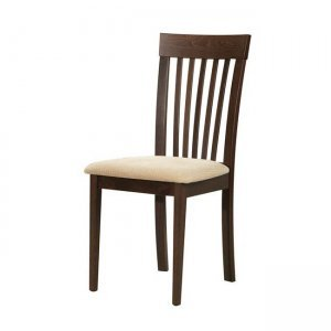 Corina καρέκλα οξυά σκούρο καρυδί με pvc εκρού