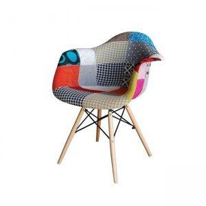 Alea wood πολυθρόνα pp, με ύφασμα patchwork