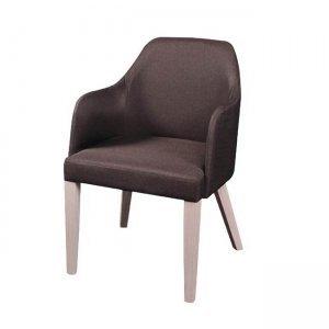 Edward πολυθρόνα σε white wash χρώμα με ύφασμα σκούρο καφέ