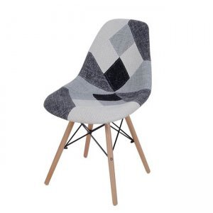 Art Wood καρέκλα pp με ύφασμα patchwork σε λευκό και μαύρο συνδυα&