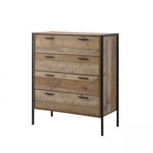 Pallet συρταριέρα 4 συρτάρια 84x40x100 antique oak