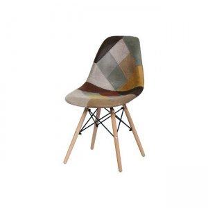 Art wood καρέκλα pp, με ύφασμα patchwork καφέ