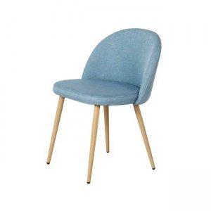 Bella καρέκλα μεταλλική με βαφή φυσικό με ύφασμα light blue