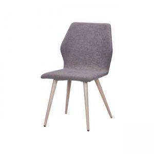 Leto καρέκλα μεταλλική με βαφή φυσικό με ύφασμα grey brown