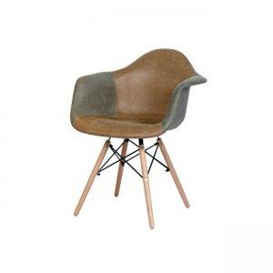 Alea wood πολυθρόνα pp, με ύφασμα γκρι καφέ