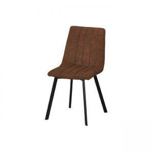 Betty καρέκλα μεταλλική μαύρη με ύφασμα suede καφέ