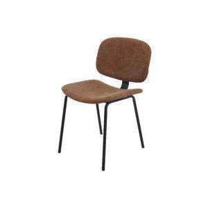 Barley καρέκλα μέταλλο μαύρη pu vintage brown