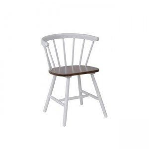 Πολυθρόνα Kansas λευκή με καρυδί κάθισμα