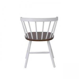 Πολυθρόνα ρετρό Saloon λευκή με καρυδί κάθισμα
