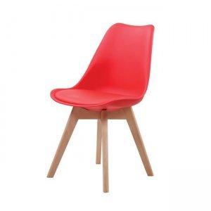 Κόκκινη καρέκλα Martin pp με ξύλινα πόδια