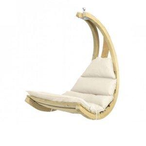 Αιώρα κάθισμα Swing Chair κούνια ξύλινη με εκρού μαξιλάρι