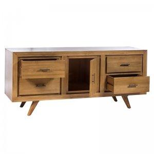 Ρετρό ξύλινο έπιπλο τηλεόρασης με τέσσερα συρτάρια