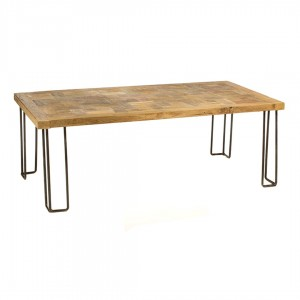 Industrial  τραπεζάκι σαλονιού από ξύλο teak με σιδερένια βάση 120x60x40 εκ