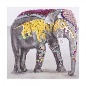 Ελαιογραφία με θέμα Ελέφαντα σε καμβά 120x120 εκ